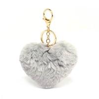 AGC1014 - Grey Fluffy Heart Bag Charms