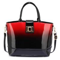 AG00329 - Red Patent Two-Tone Handbag