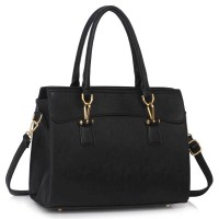 Black Womens Tote Bag With Polished Hardware