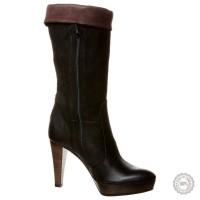 Juodi odiniai ilgaauliai batai Mai Piu Senza