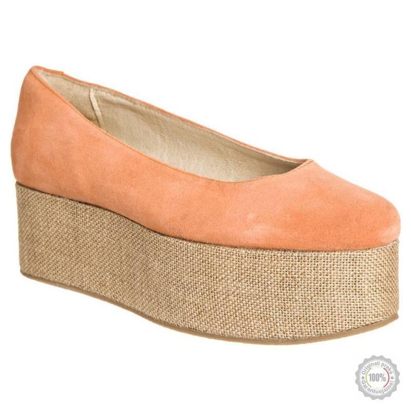 Oranžiniai odiniai aukštakulniai bateliai Shoeshibar
