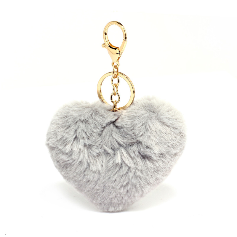 AGC1014 - Grey Fluffy Heart Bag Charms