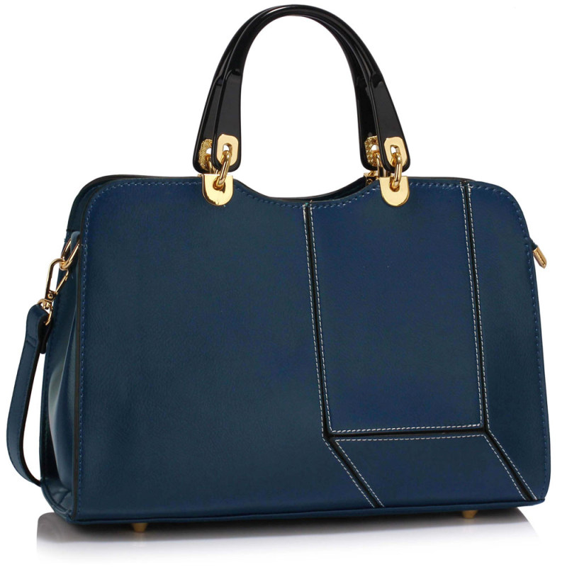 Navy Colour Block Patchwork Grab Bag