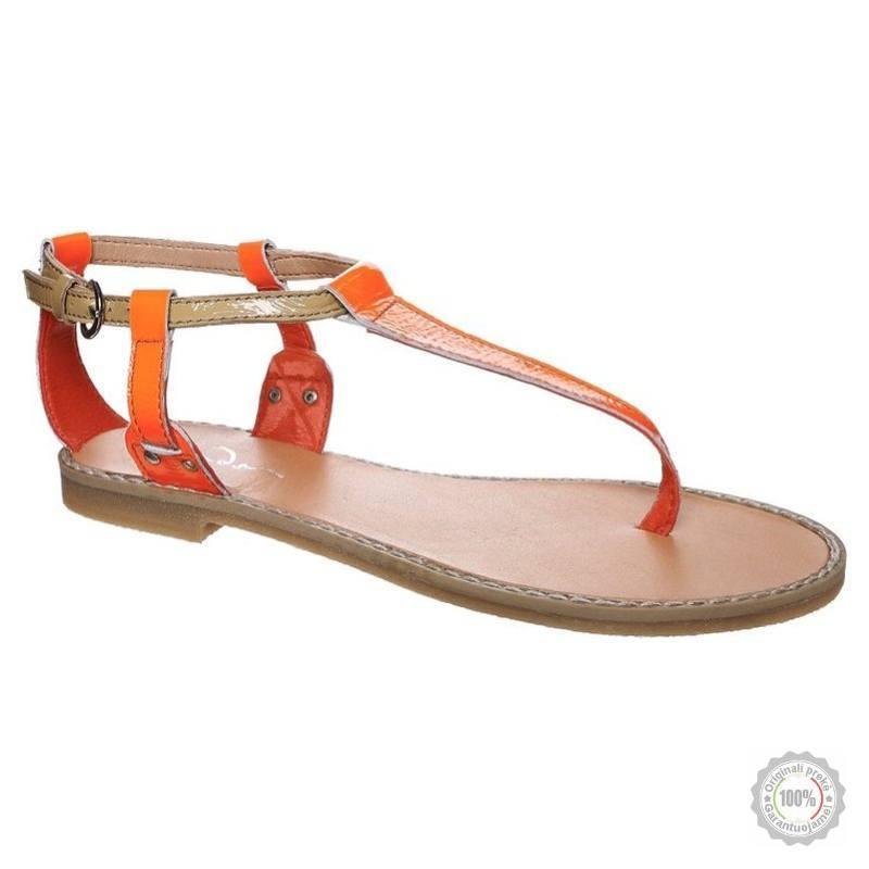Oranžinės odinės basutės Zign